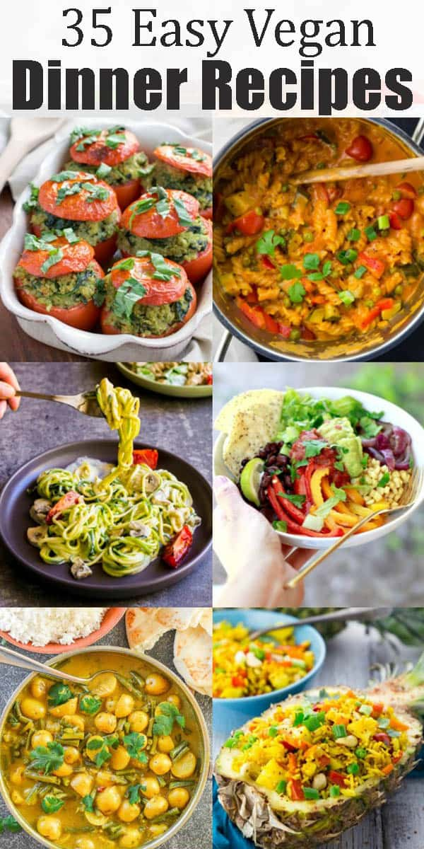 These 35 vegan dinner recipes are perfect for busy days! All recipes are plant-based, super easy to make, and incredibly delicious. Most of these vegan meals are even super healthy! This roundup includes some of my favorite vegan recipes! #vegan #vegandinner #veganrecipes