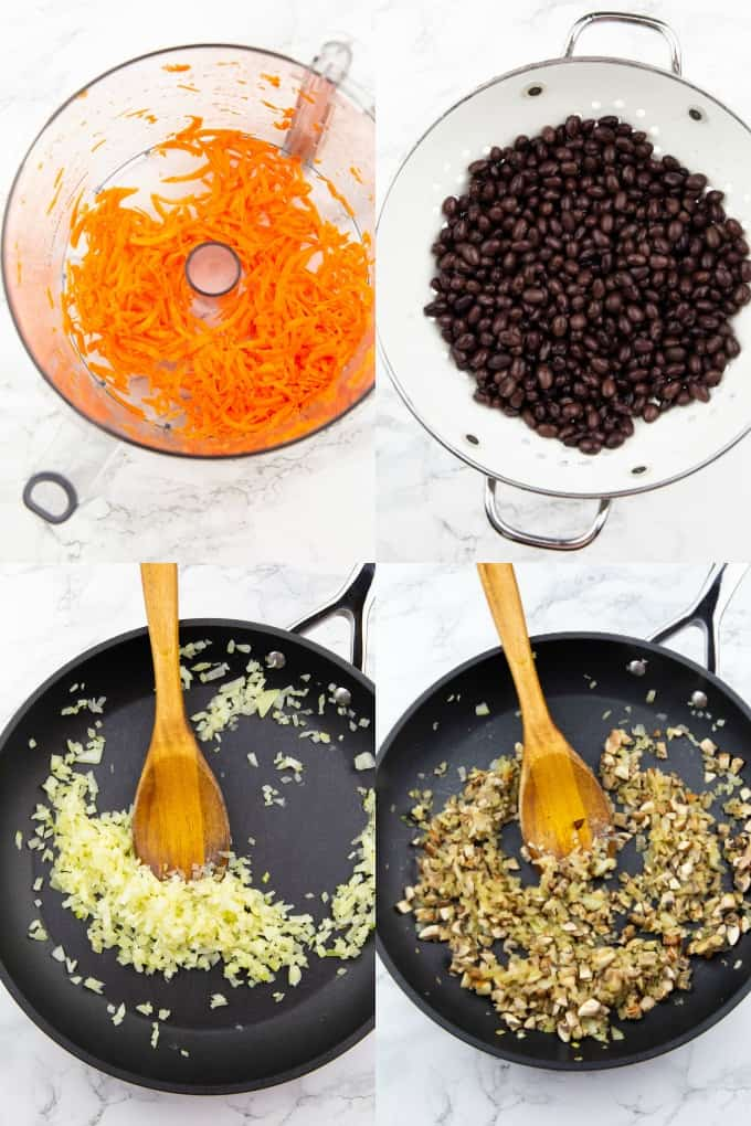 a collage of four photos that show the preparation of vegan black bean burgers