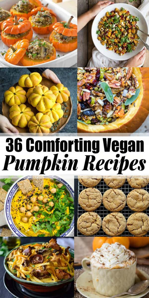 35 Stunning Vegan Pumpkin Recipes You Need To Try This Fall!! Yaay! Pumpkin season is finally here! I'm a real pumpkin lover, so I just had to put together a massive roundup of delicious vegan pumpkin recipes. It includes savory vegan recipes as well as vegan dessert recipes. #pumpkinrecipes #veganrecipes #pumpkin
