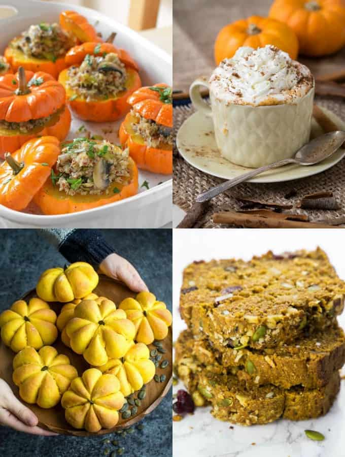 a collage of four vegan pumpkin recipes