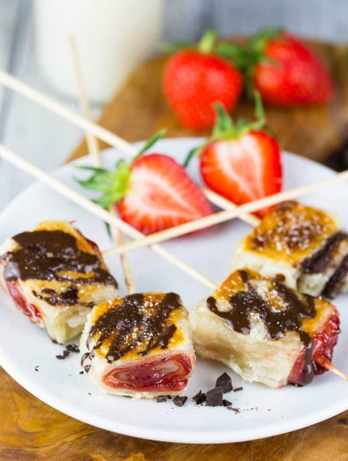 Chocolate Strawberry Puff Pastry Pops