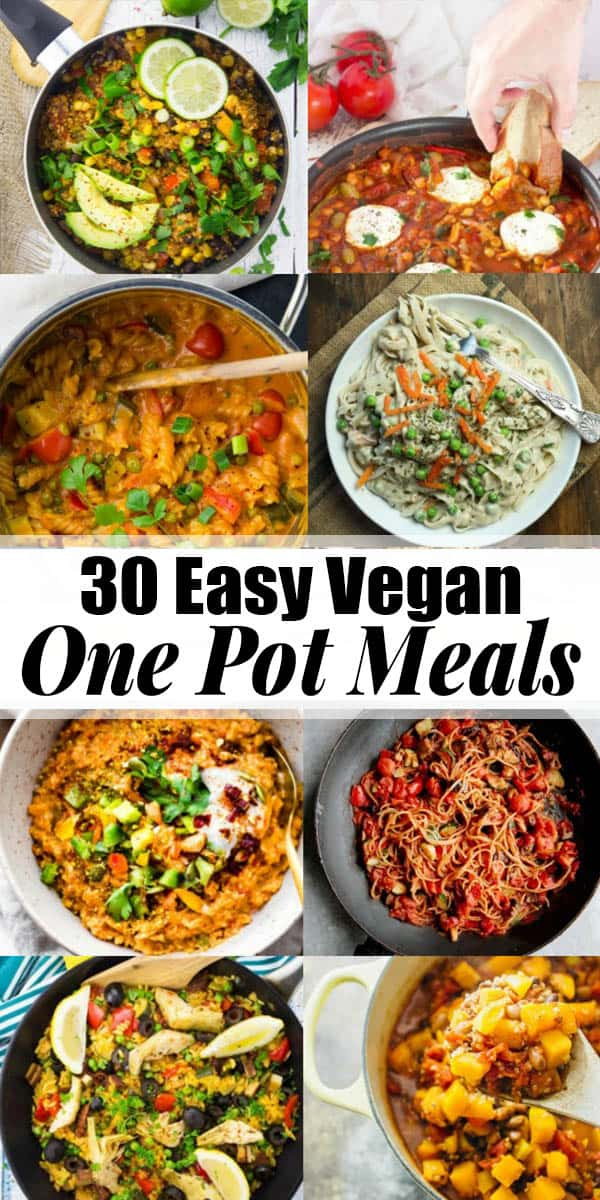 Oh, how I love one pot recipes! These 30 easy vegan one pot meals are perfect for busy days! All of these vegetarian recipes are complete meals that are made in only one cooking vessel. This is not only super easy but it also means less washing-up! Find more vegan recipes at veganheaven.org! #onepotrecipes #vegandinner #easydinner