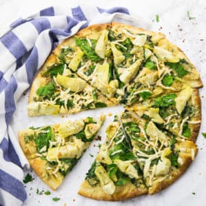 Spinach Artichoke Pizza (Vegan)