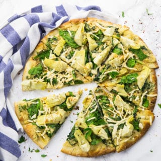 Spinach Artichoke Pizza (Vegan)