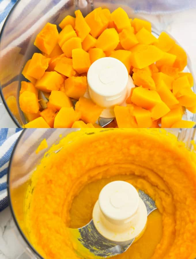 step-by-step photos of making pumpkin puree in a food processor