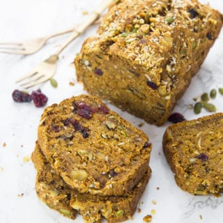 Vegan Pumpkin Bread with Cranberries and Pumpkin Seeds