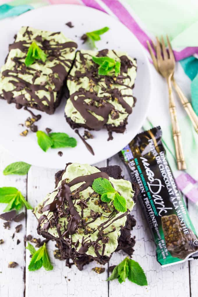 Protein Brownies with Mint Topping (Vegan & Gluten-Free)