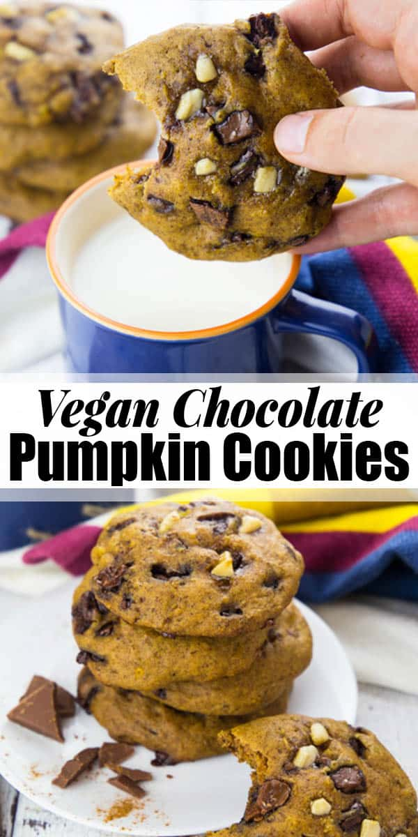 These vegan pumpkin cookies with huge chocolate chunks are the perfect treat for cold fall days! They're super easy to make and so incredibly delicious! Vegan cookies and vegan baking in general can be so easy! Find more vegan recipes at veganheaven.org <3