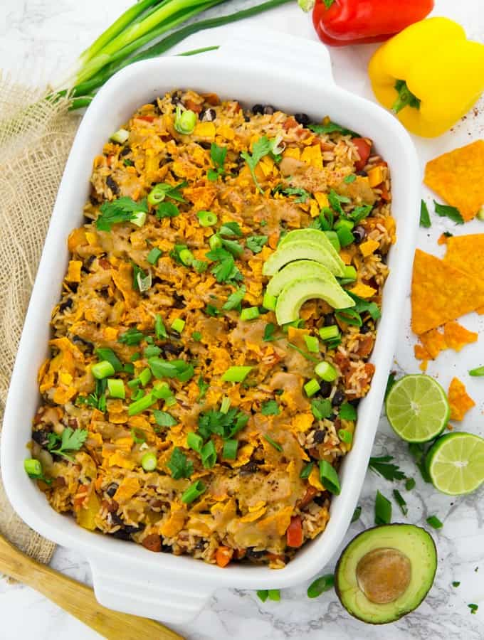 Vegan Mexican Rice Casserole with Tacos - Vegan Heaven