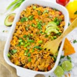 Vegan Mexican Rice Casserole with Tacos