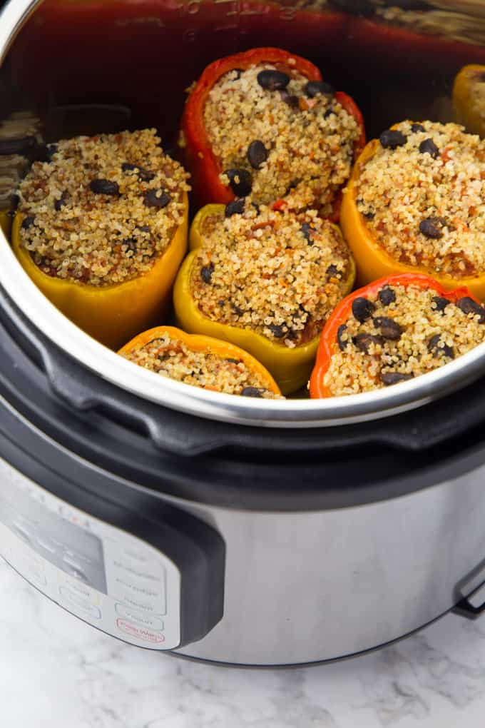 Quinoa Stuffed Bell Peppers (in the Slow Cooker)
