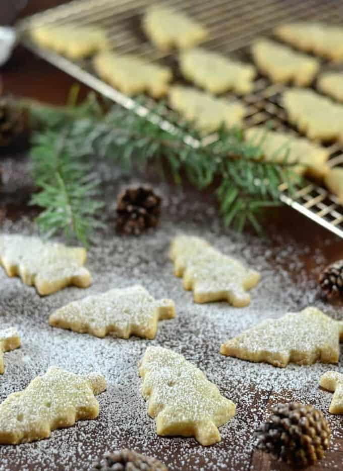 six vegan pine needle shortbread on a wooden counter top with powdered sugar on top and a cooling rack with more cookies in the background