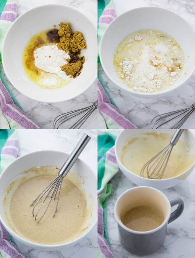 step-by-step photos of the preparation of a vegan mug cake