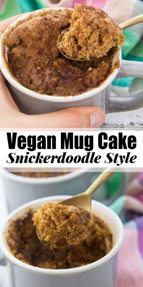 This vegan mug cake is absolutely perfect when you feel like having a cake for dessert but don't have enough time for baking! And the best thing is that it's a snickerdoodle mug cake!! 5 minutes is all you need for this easy individual-size dessert! Vegan desserts at their best! #mugcake #vegan #veganrecipes