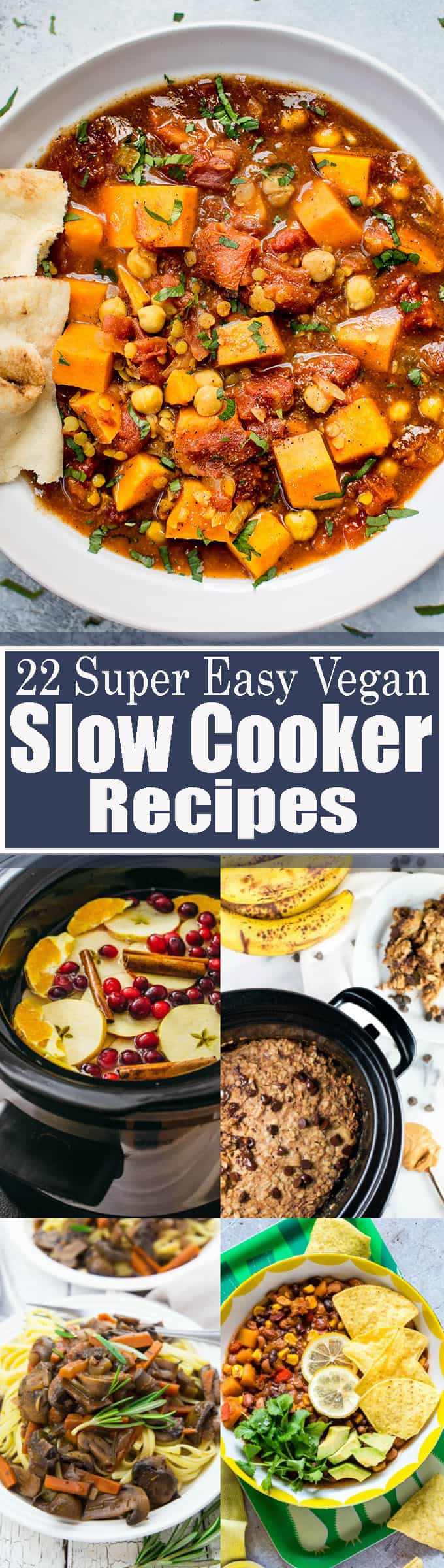 These 22 vegan slow cooker recipes are perfect when you're looking for easy and comforting vegetarian recipes! This roundup includes vegan dinner recipes, vegan breakfast recipes, and even drinks! Vegan cooking made easy! <3