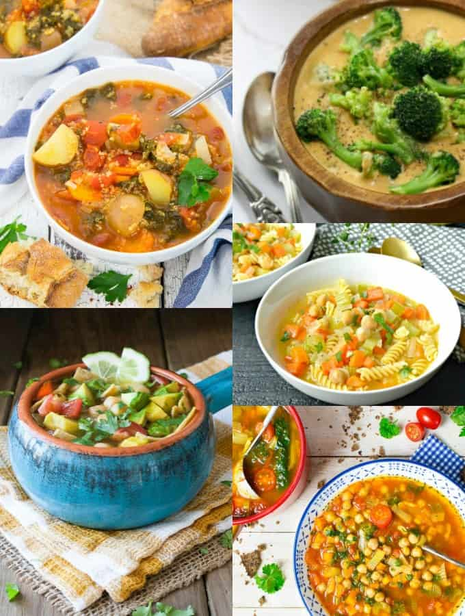 a collage of vegan soup recipes