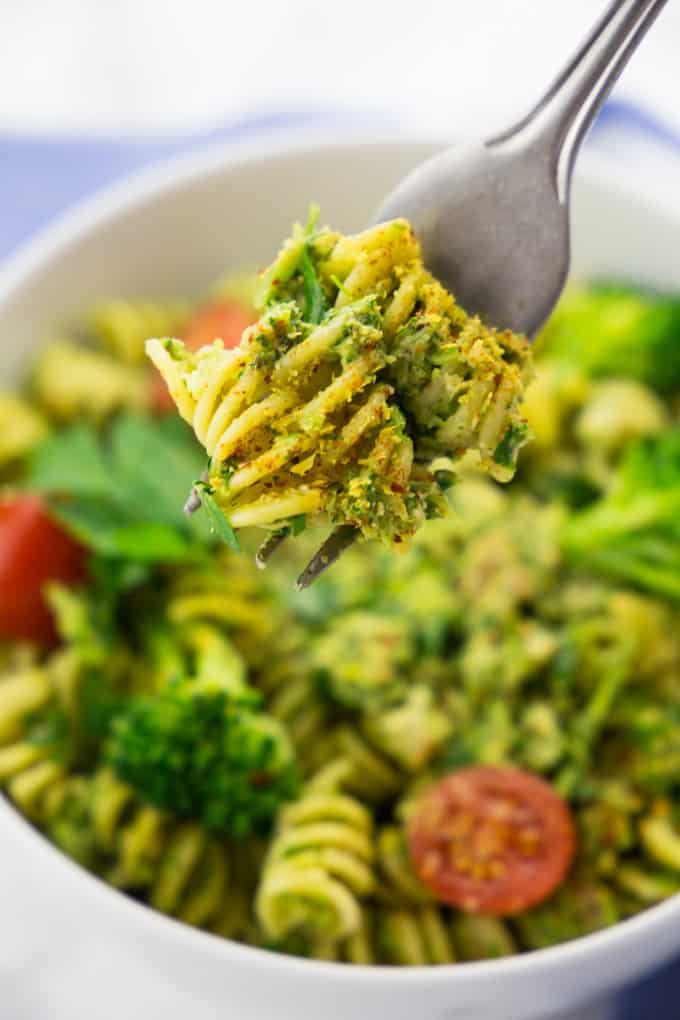Broccoli Pesto with Pasta and Cherry Tomatoes