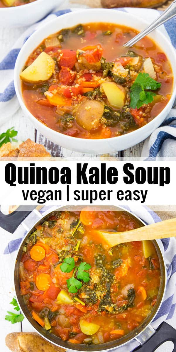 This quinoa soup with kale and carrots is SO yummy! It's super easy to make and packed with nutrients. Besides, it's vegan and gluten-free!One of my favorite winter soup recipes!