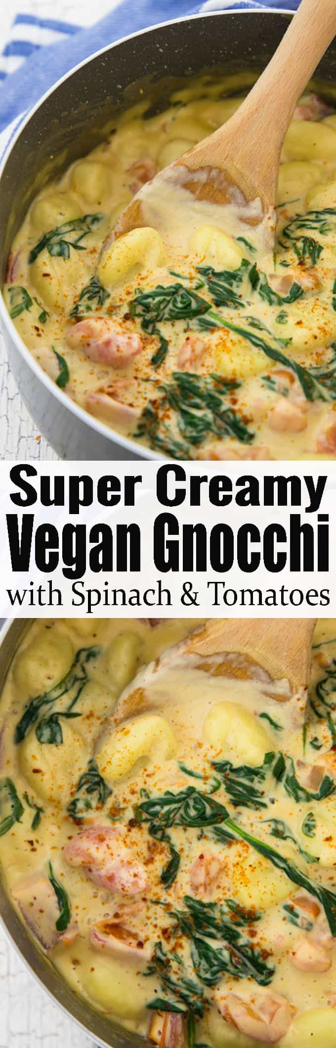 These vegan gnocchi with a creamy cashew sauce, spinach, and tomatoes are the perfect weeknight meal. It's super easy to make and incredibly comforting! One of my favorite vegetarian dinner recipes! Find more vegan recipes at veganheaven.org <3