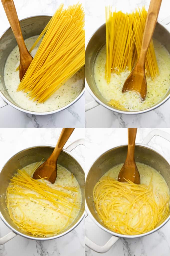 a collage of four photos that show the preparation of lemon spaghetti