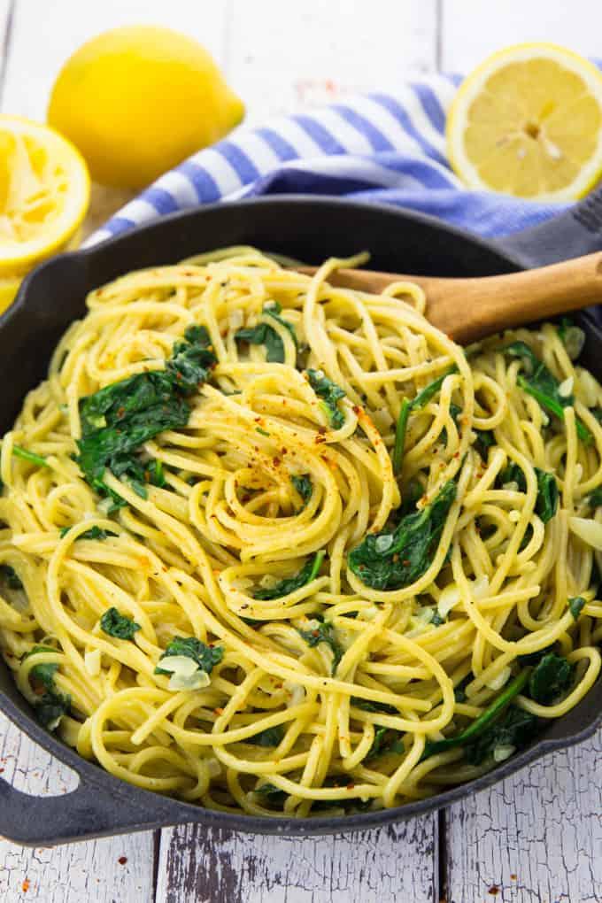 Lemon Spaghetti with Spinach