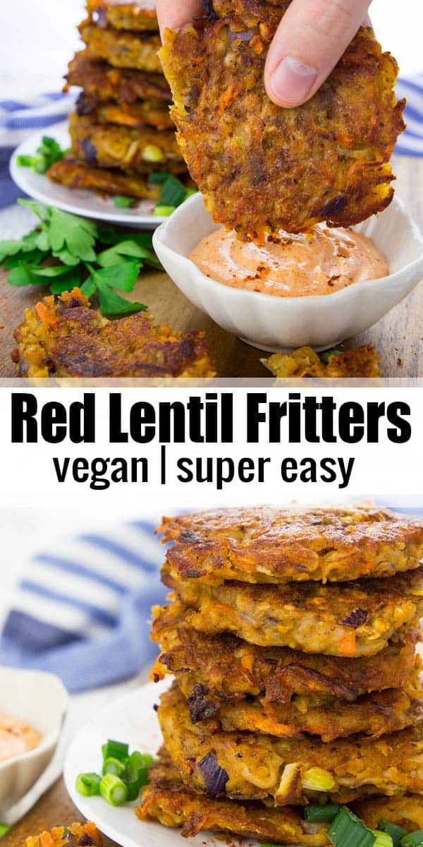 These potato fritters with red lentils are super easy to make and so delicious! They're best with spicy sriracha mayonnaise! Find more vegan recipes and vegan dinner ideas on veganheaven.org! #vegan #fritters #vegandinner