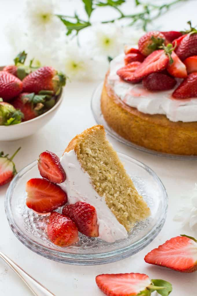 Vegan Lemon Almond Cake with Coconut Whipped Cream and Strawberries