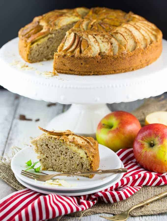 Vegan Apple Cake with Almonds on a Plate with a Fork