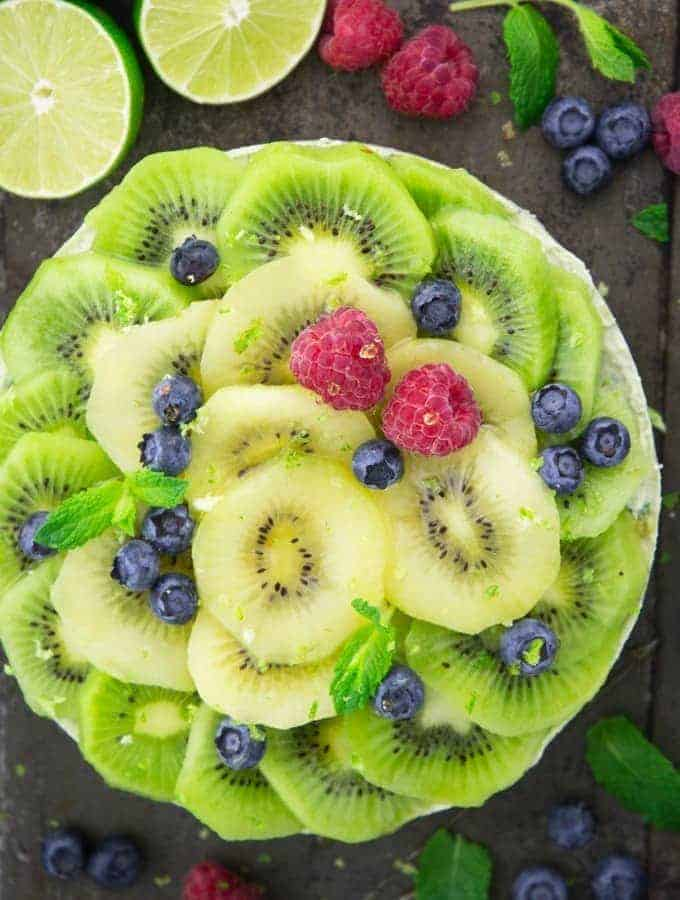 No Bake Kiwi Cheesecake with Berries on the Side