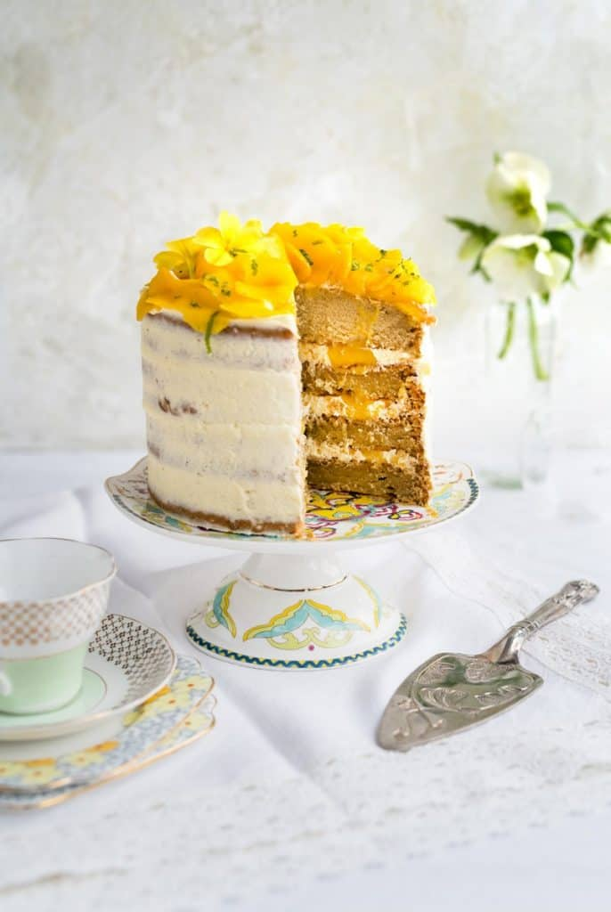 Vegan Tropical Celebration Cake with a Cake Lifter on The Side