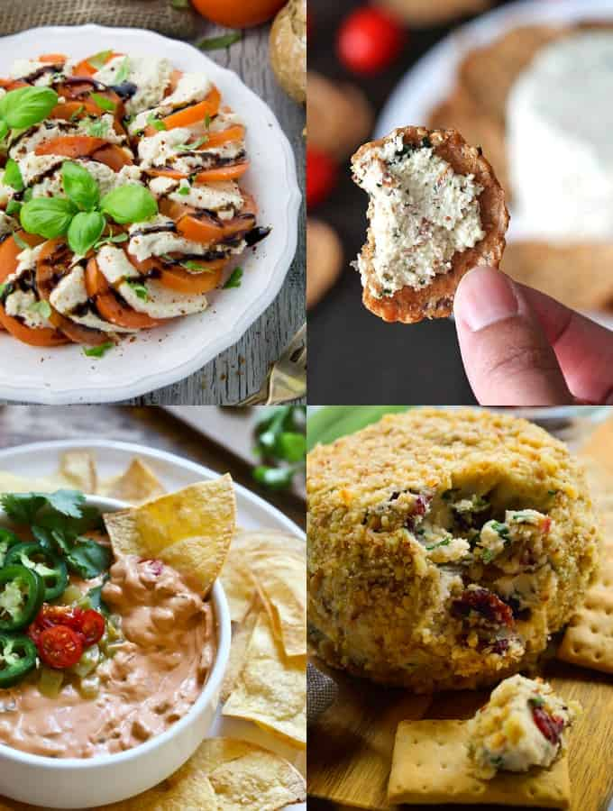 a collage of four vegan cheese recipes