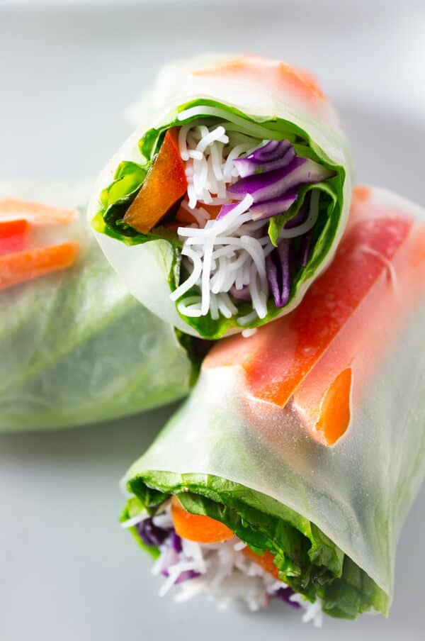 Three Vegan Salad Spring Rolls on a White Plate
