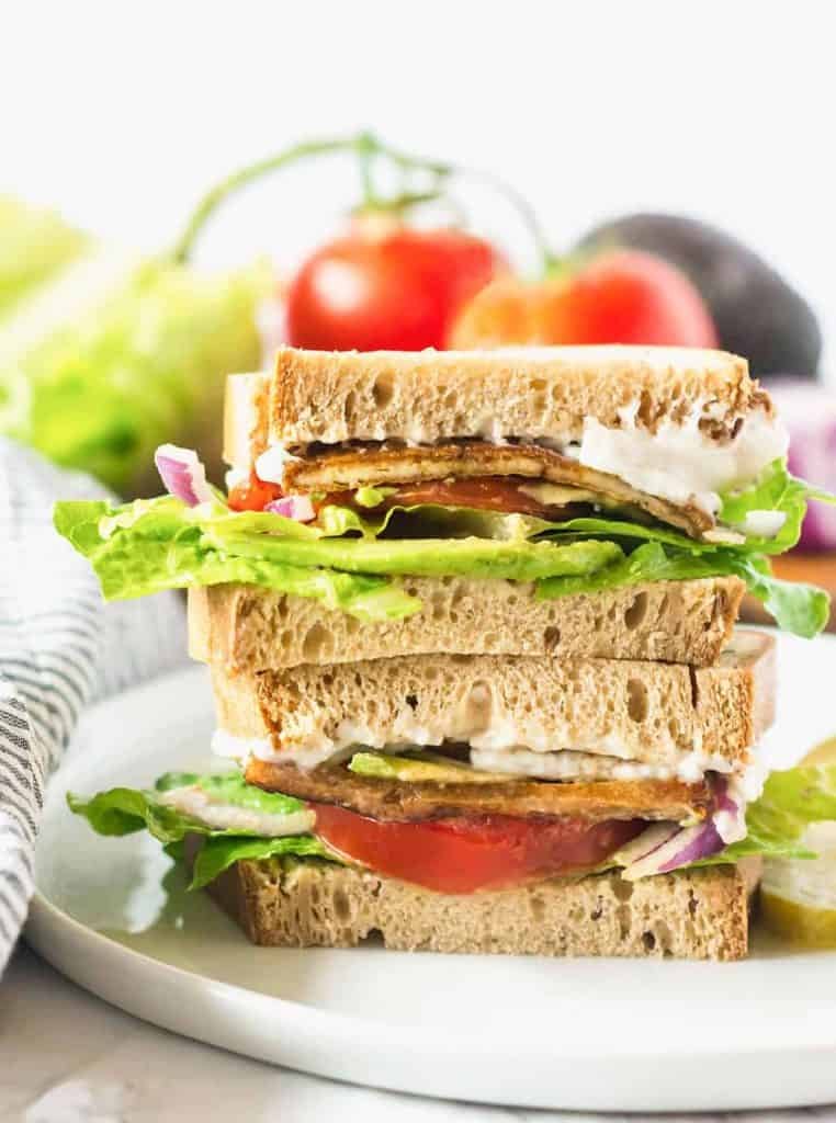A Stack of Vegan BLT Sandwiches