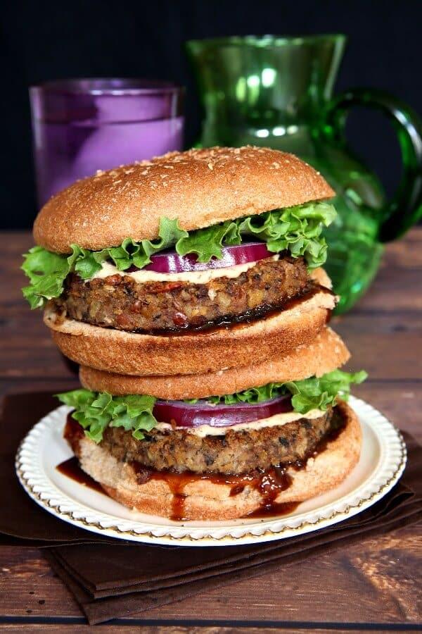 A Stack of Vegan Mushroom Pecan Burgers