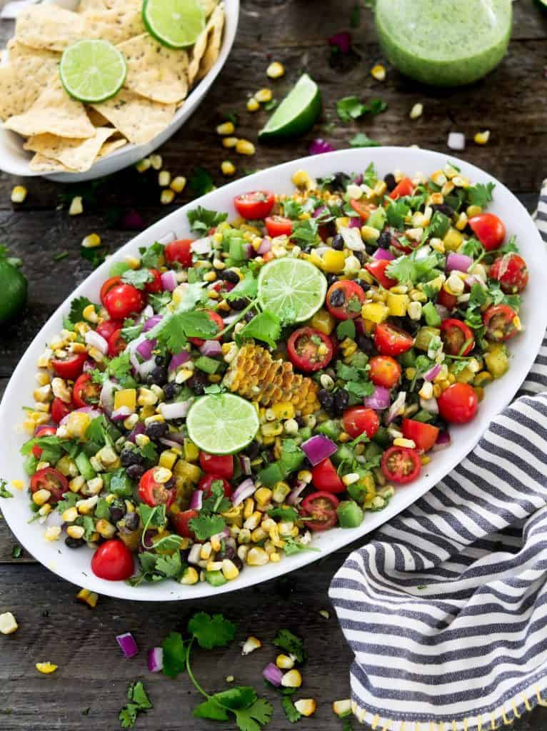 Grilled Corn Salad with Nachos and Lime on the Side