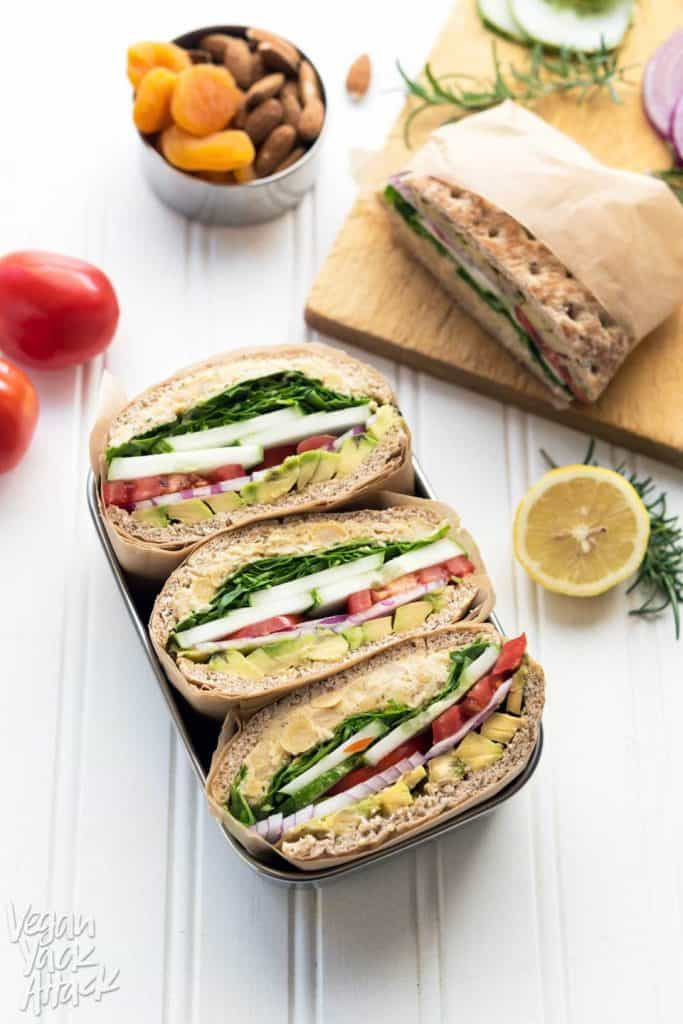 Rosemary Chickpea Salad Sandwich in a Lunch Box