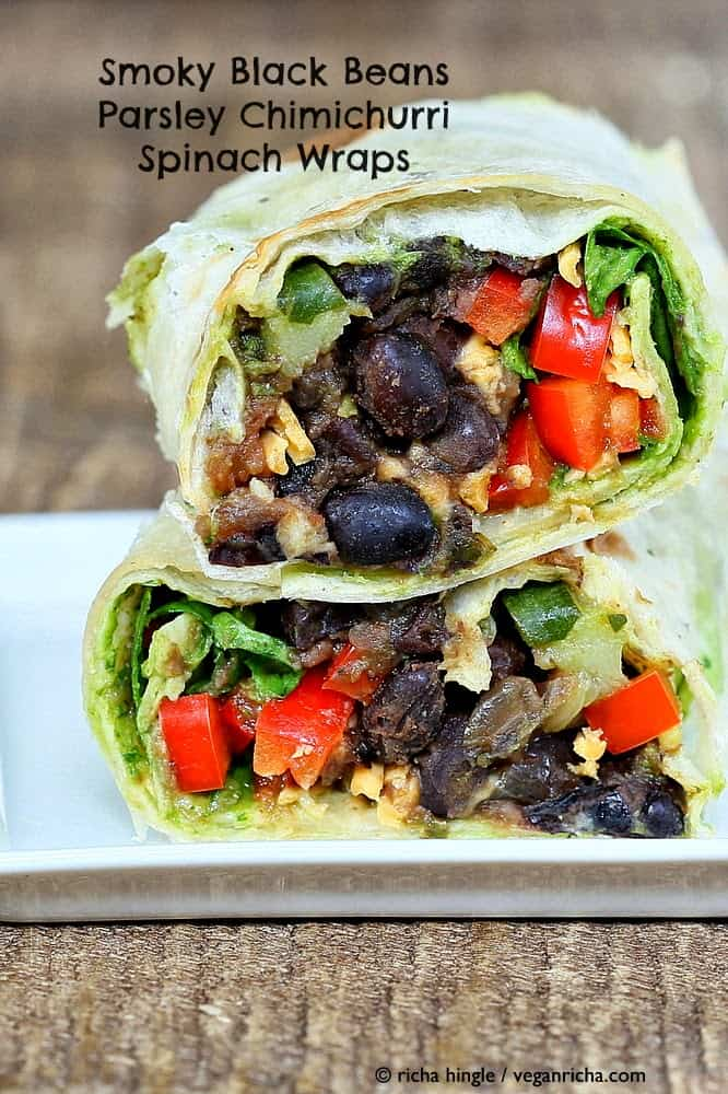 Smoky Black Beans with Parsley Chimichurri in a Wrap
