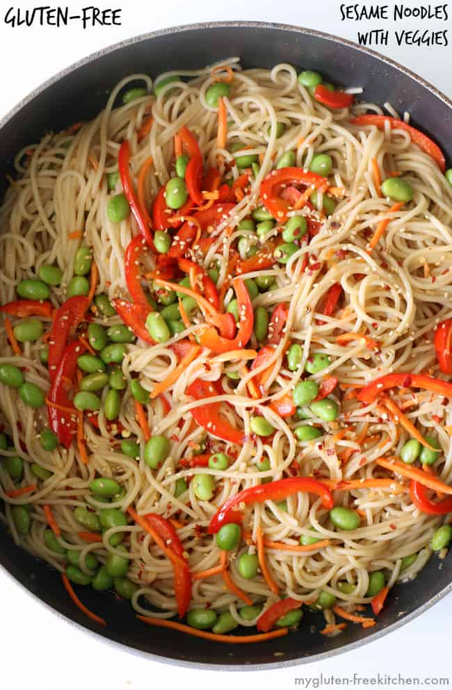 Gluten-Free Sesame Noodles with Vegetables In A Pot