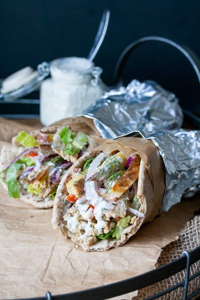Tempeh Gyros Wrap on Parchment Paper