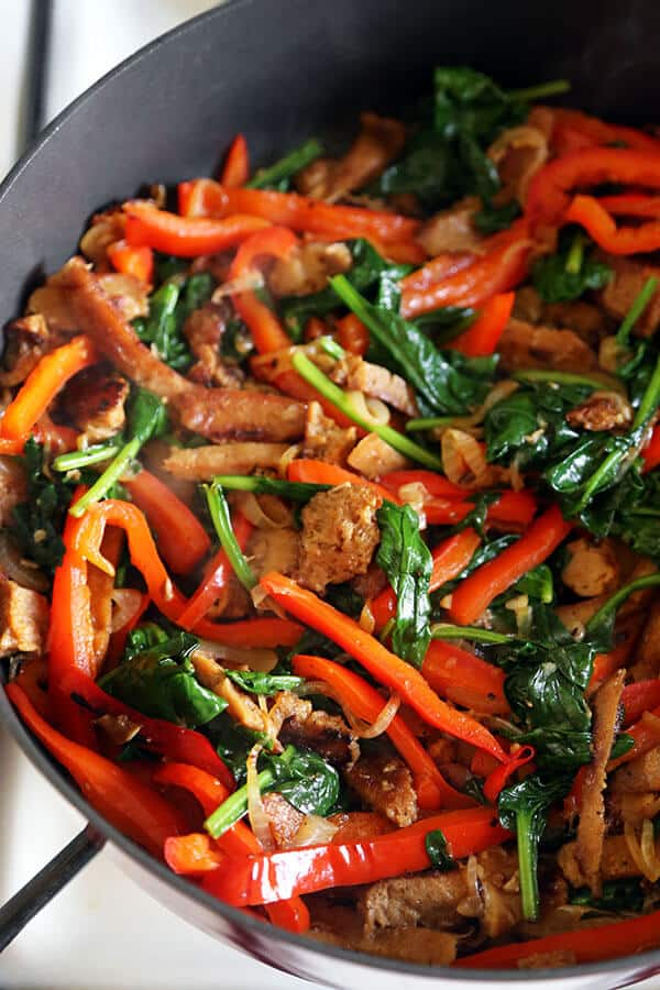 Seitan Vegetable Stir Fry In a Pan