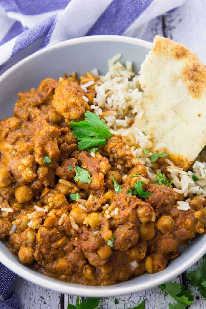 Vegan Butter Chicken with Chickpeas and Cauliflower in a Bowl
