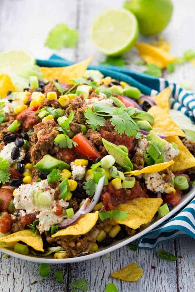 Vegan Taco Salad with Nachos on a Plate
