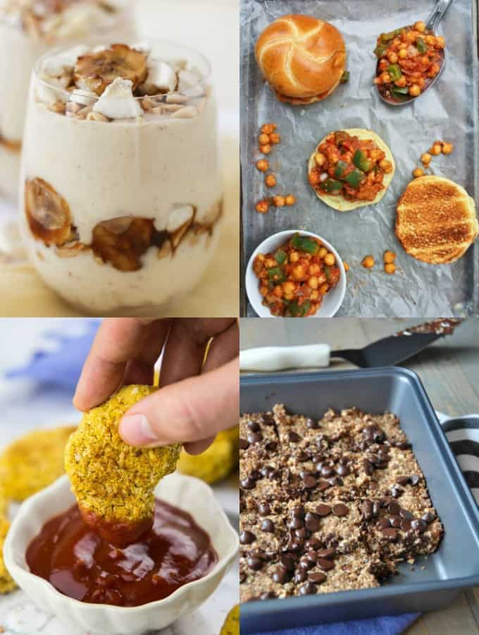 a collage of four recipes that are high in plant-based protein