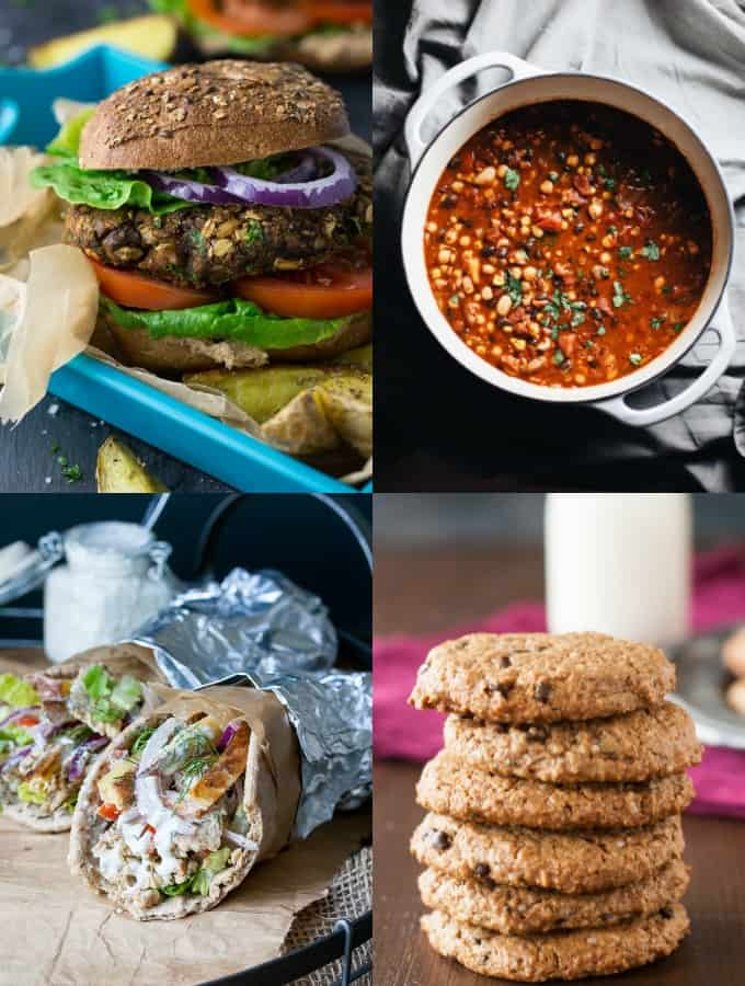 A collage of four recipes containing vegan protein