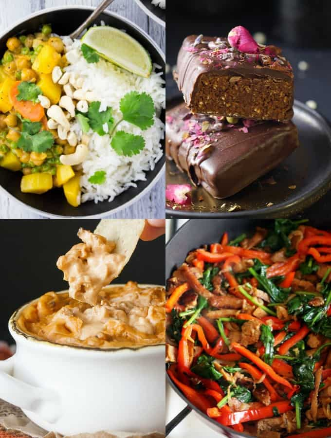 a collage of four vegan protein recipes