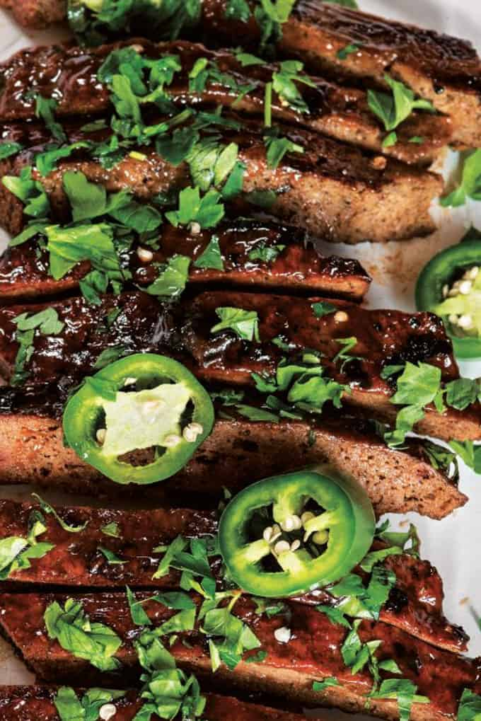Vegan Ribs with Minced Cilantro and Sliced Jalapeno Peppers on Top