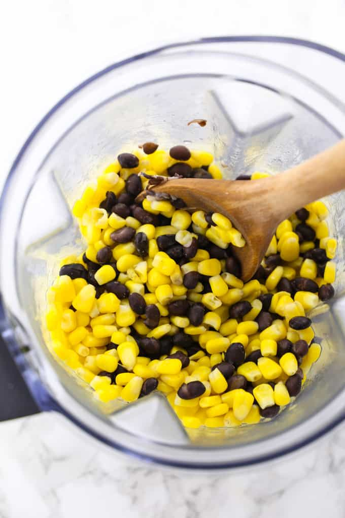 corn and black beans in a blender