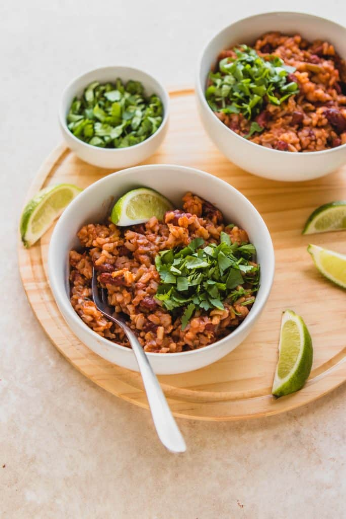 Instant Pot Rice with Beans with Limes and Cilantro on the Side