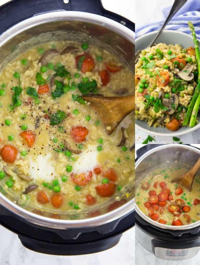 vegan mushroom risotto in an instant pot