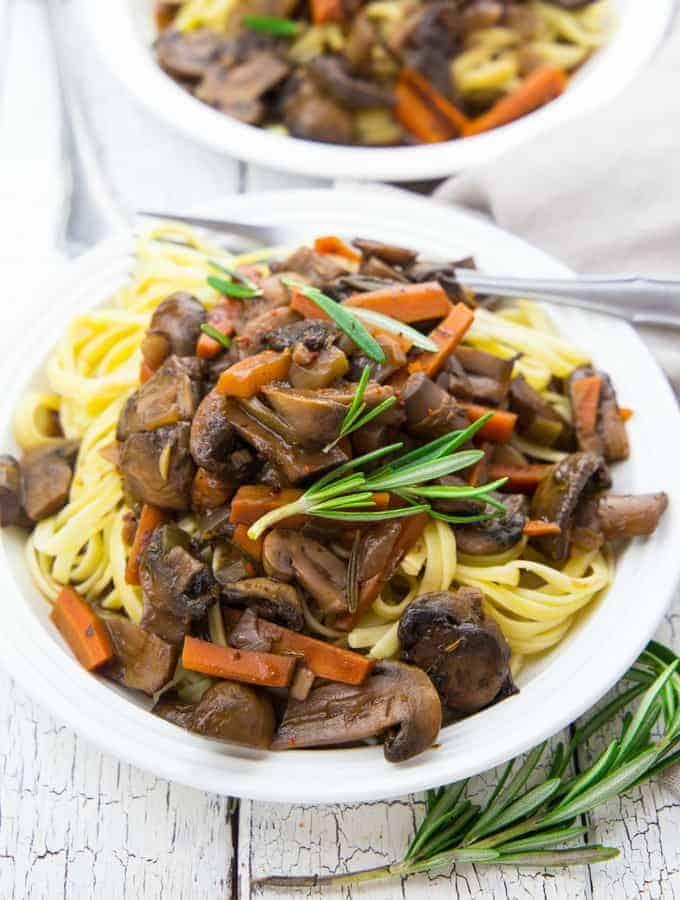 Mushroom Bourguignon with Pasta